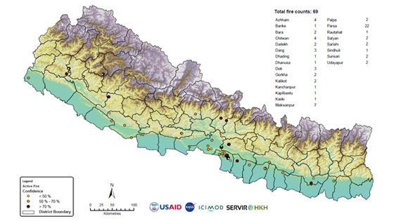 Forest fire detection and monitoring in Nepal