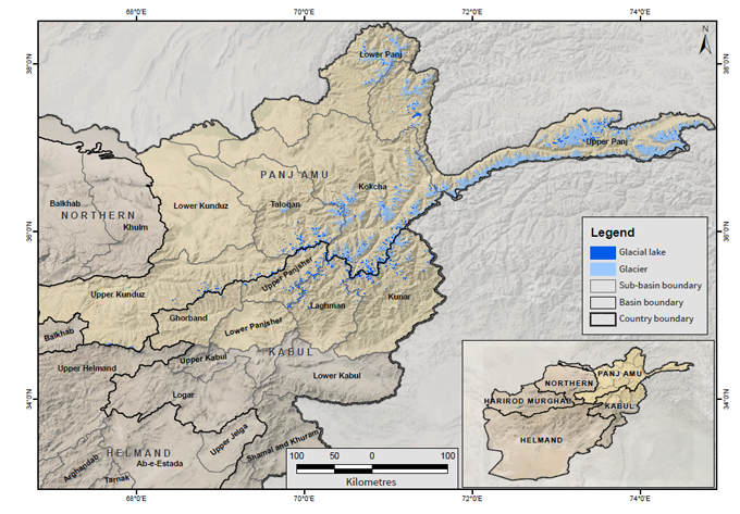 Distribution of glaciers and glacial lakes in Afghanistan